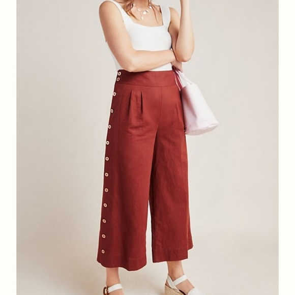 Anthropologie Pants - Buttoned Wide Leg Linen blend pants